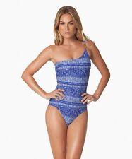 Vix Paula Hermanny Medium M Carioca 1 piece Swimsuit 1 Shoulder Blue Geometric