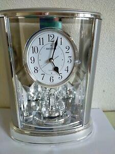 Rhythm Two Tone Silver Chrome Mantel Clock w Swarovski Pendulum