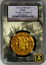 PERU 1712 8 ESCUDOS NGC 40 1715 FLEET PIRATE GOLD COINS SHIPWRECK TREASURE DATED