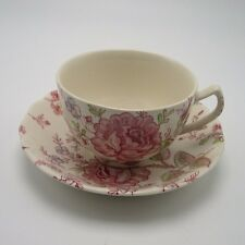 Rose Chintz Johnson Brothers cup saucer coffee tea pink roses England Ironstone