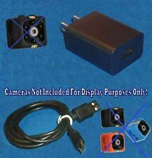 Cop Cam Door Ring Video Camera Power Supply Adapter Wall Charger +3' M USB Cable