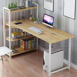 Computer Desk Office Study Writing Table Laptop Workstation Home Shelf GuosArten
