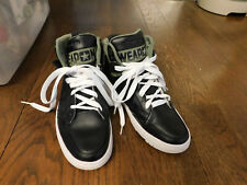 Converse Weapon Hightop Black Leather Green Canvas 144613C RARE Sneakers sz 8.5