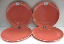 "PORTUGAL PRIMAGERA CORAL 11"" DINNER PLATES, SET of 4, MINT w/ LABELS, PMZ3"