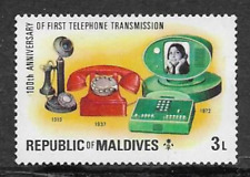 REPUBLIC OF MALDIVES POSTAL ISSUE - MINT STAMP - CENTENARY OF FIRST PHONE CALL