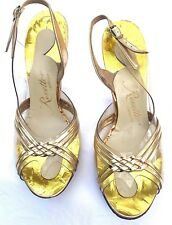 Vintage Revette Clear & Gold Leather Evening Shoes 1950s