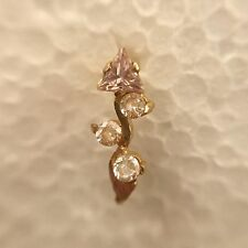 14Kt Real Gold Stud Yellow Nose Ear Pin CZ Piercing Engagement Ring 20 Gauge