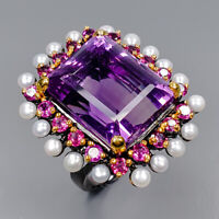 Amethyst Ring Silver 925 Sterling 19x16 mm. IF 35 ct+ AAA Size 8 /R143809