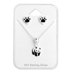 925 Sterling Silver Panda Bear Pendant Necklace & Stud Earrings Gift Set
