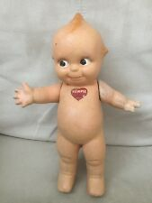 Doll Composition Kewpie with blue wings has sticker some flaking of paint 1940s