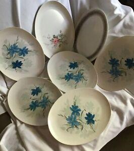 Lot of 7 Oval White Plastic Platter White Blue Floral Design Vintage OD Camping