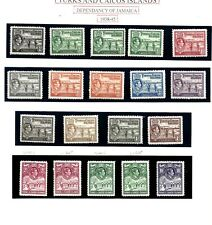 TURKS & CAICOS (L189) 1938 SG194-05 EXTENDED SET OF 19  INC SHADES MM CAT £230