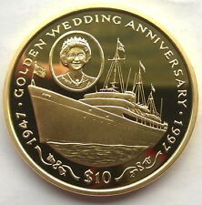 Sierra Leone 1997 Royal Yacht 10 Leones Gild Silver Coin,Proof
