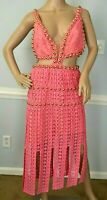 New NWT Thurley Titan Midi Studded Embroidered Crochet Cocktail Dress US 4  AU 8