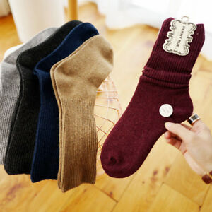 6 Pairs Women 90%Cashmere Wool Thick Warm Soft Comfort Sports Solid Casual Socks
