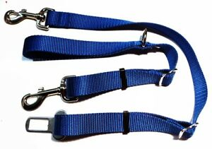 """1""""Adjustable Nylon Dog Leash with D-Ring & Seat Belt ~ Made in USA ~ Many Colors"""