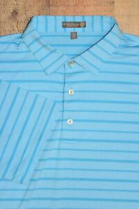 PETER MILLAR SUMMER COMFORT XL Golf Polo Shirt NO CLUB LOGO Blue Striped EUC B13