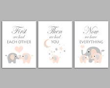 Peach & Grey Nursery Prints / First We Had Each Other / Moon & Stars / Set Of 3