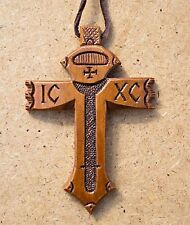 New! Unique Neck Cross Wooden Handmade + Leather Chain
