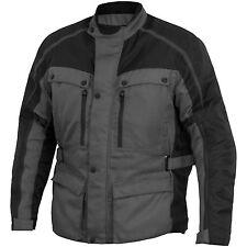 River Road Taos Grey Men's Waterproof Textile Street Motorcycle Jacket LG BLEM