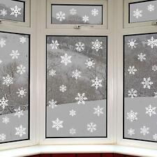 14 x 5 - 8cm Flocked White Christmas Snowflake Window Sticker Decal Decorations