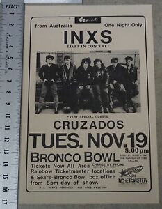 INXS Concert Poster Bronco Bowl Ft Worth Texas Listen Like Thieves Tour