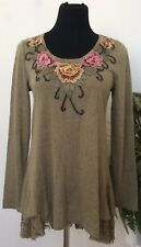 Cristina Women's Green Flower Embroidery Lace Tunic Top Size M EUC!
