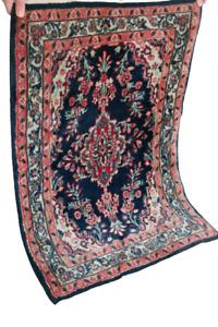 Fein Handgeknüpfter Perser Orientteppich Bidjar Senneh Gom old carpet 90X65cm