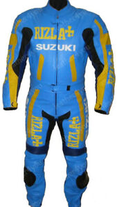 SUZUKI RIZLA Motorbike/Motorcycle Leather Suit Mens Biker Leather Jacket Trouser