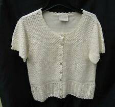 First Issue Liz Claiborne Short Sleeve Crochet Button Top Cotton Woman 42 chest