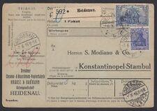 TURKEY, 1916. Parcel Card Mi 87, 95, Heidenau - Istanbul