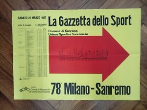 Vintage 1987 Milan-Sanremo arrow direction sign poster ciclismo cycling jersey