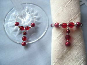 pearl napkin ring & wine glass charm set wedding top table set / dinner party