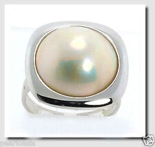 14MM Japanese Mabe Pearl Ring 14K White Gold Square Setting Size 7, NEW