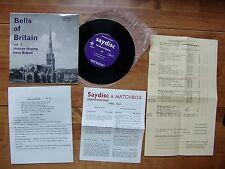 """7"""" 45 SAYDISC SD 127 """"Bells Of Britain Vol.1 Change Ringing From Bristol"""" EXTRAS"""
