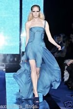 $12,310 NEW VERSACE ONE SHOULDER BLUE SILK LONG DRESS GOWN 38