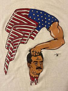 Vintage 90s 1991 Saadam Hussein USA Flag Kuwait Gulf War Screen Stars T-Shirt