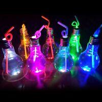 500ML Light Bulb Glow Glass Bottle Beverage Bottle Plant with lid sucker NEW  #