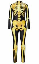 Halloween Costume Skeleton Jumpsuit Fancy Dress Outfit Slim Fit Body Suit MEDIUM