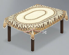 """Rectangular or Oval lace cream/dark gold Tablecloth NEW 51"""" x 71"""" (130x180cm)"""