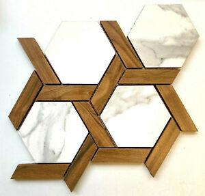 "11"" x 12 1/2"" Calacatta Marble & American Walnut Hexagon Trellis Ceramic Mosaic"