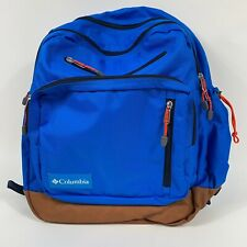 COLUMBIA Day Pack Backpack Blue/ Brown Nylon & Leather Laptop Compartment