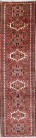 One of a Kind Geometric Gharajeh Hand-Knotted Red Wool Runner Rug 3'x10'