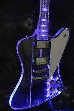 Starshine Full Acrylic S-Firebird Electric Guitar With LED Light Blue Color