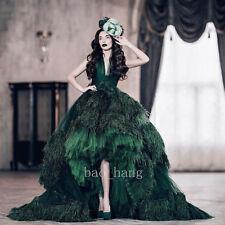 Vintage Green Wedding Dress Ostrich Feathers Hi-low Bridal Gown Formal Dresses