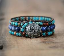 Natural Stone Lapis Lazuli & Imperial Jasper Beaded Wrap | Cuff Bracelet