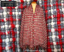 Joli Châle épais 100% Laine blanc, gris et rouge à carreaux - CH184 7c7586a1521