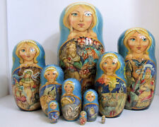 "10pcs Hand Painted One of a Kind Russian Nesting Doll ""Vikings"" by Frolova"