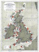 MAP ANTIQUE 1884 PRICE LIGHTHOUSES LIGHTSHIPS BRITISH ISLES ART PRINT HP1424