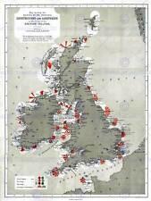 MAPPA antica 1884 prezzo FARI FARO Isole Britanniche ART PRINT hp1424
